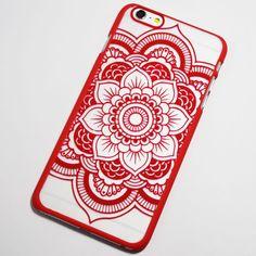 Red Henna Flower iPhone 6 Plus / 6S Plus Hard Case - Boho Chic Mandala Flower iPhone Cover