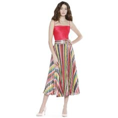 db119425ef Alice + Olivia Katz Sunburst Pleat Mid Length Skirt (845 CAD) ❤ liked on