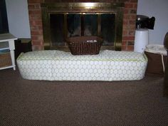 I've been trying to figure out a way to use the crib bumper (WHY are they still included in baby bedding sets since they are so dangerous? Repurposed as a cushion for the hearth. Bumper Pads For Cribs, Baby Crib Bumpers, Baby Cribs, Baby Bumper, Baby Proof Fireplace, Fireplace Hearth, Fireplace Guard, Fireplaces, Brick Hearth