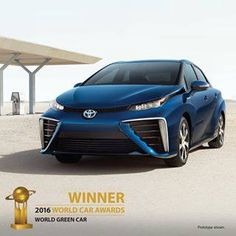 Fueled by hydrogen. Emits nothing but water. And is honored to be the winner of the 2016 World Green Car Award. The #ToyotaMirai