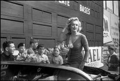 Marilyn at Ebbets Field Stadium, New York, May 12, 1957.