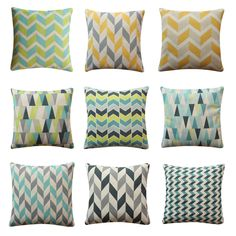 Geometric Vintage Pattern Cushion Cover Home Kids Room Decor Throw Pillow Case Geometric Cushions, Pillow Room, Triangles, Herringbone, Soft Fabrics, Yellow, Blue, Kids Room, Pillow Covers