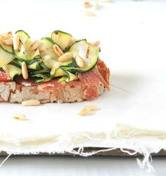 Bruschetta of courgette, Ham,  Pine Nuts, Zucchini