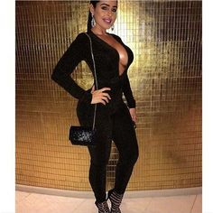 507640aeff8 2018 Deep V Neck Women Jumpsuit Full Pants Long Sleeve Party Bodysuit one  piece sexy skinny