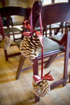 Pinecone pew ends for a more traditional look @Derek Imai Imai Smith My Wedding #rockmywinterwedding