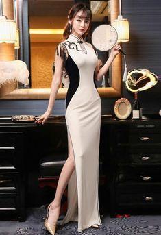 Sexy Dresses, Beautiful Dresses, Evening Dresses, Fashion Dresses, Oriental Fashion, Asian Fashion, Glamour Moda, Moda Chic, Cheongsam Dress