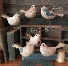Love these! Rock River Stitches: *New* Primitive Scrappy Birds!