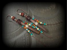 Leather Wrapped Sea Urchin Beaded Earrings by YuccaBloom on Etsy, $43.00