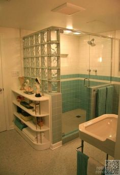blue tile bathroom - vintage style - from scratch! Walk in shower with corner bench. See Retro Renovation for detail.Walk in shower with corner bench. See Retro Renovation for detail. Casa Retro, Mid Century Bathroom, Art Deco Bathroom, Bathroom Ideas, Bathroom Showers, Basement Bathroom, Bathroom Shelves, Retro Renovation, Vintage Bathrooms
