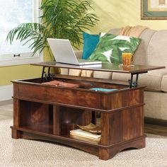 Add value to your living space by selecting this SAUDER Harbor View Curado Cherry Lift-Top Coffee Table. Finished on all sides for versatile placement. Lift Top Coffee Table, Coffee Table With Storage, Coffee Tables, Dining Room Furniture, Home Furniture, Storing Blankets, Fashion Room, Open Shelving, Shelves