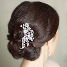 Bridal Bridesmaid Dual Leaf Flower Hair Comb Piece Rhinestone Crystal Clear