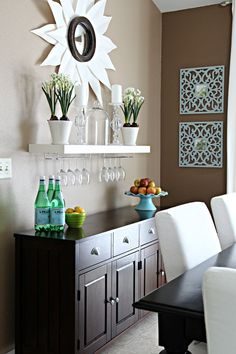 IHeart Organizing: Our Dining Table Deets! Shelf with wine glass storage above buffet/wine bar Decor, Interior, Dining Room Walls, Dining Room Design, Dining Room Bar, Dining Room Buffet, Home Decor, House Interior, Home Kitchens