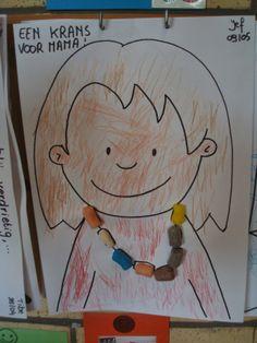 B.C. Moederdag We maakten voor mama ook een leuk werkje, we kleurden haar helemaal in en met playmaïs maakten we een mooie krans voor haar. Dit was eens een nieuwe techniek want voor playmaïs heb je helemaal geen geknoei met lijm, je kan ze gewoon in water doppen en dan kleven ze vanzelf overal waar je wil! Mother's Day Theme, Mamas And Papas, Mother And Father, Love My Job, Pre School, Fathers Day, Art For Kids, Chibi, Crafts