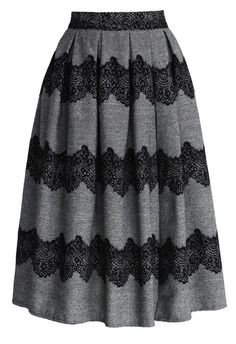 Lace Trimmed Pleated Twill Midi Skirt - Skirt Buy 1 Get 1 HALF - Skirt - Bottoms - Retro, Indie and Unique Fashion Modest Outfits, Skirt Outfits, Modest Fashion, Unique Fashion, Dress Skirt, Cute Outfits, Womens Fashion, Skirt Pleated, Gray Skirt