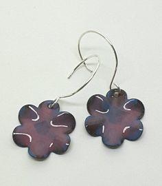 Orchid Purple Enamel Flower Earrings by PrayerMonkey on Etsy
