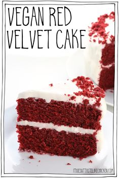 Tastes just like the traditional complete with a dairy-free cream cheese frosting! Easy to make. Perfect for Valentine's day or any occasion. Coconut Flour Recipes, Vegan Dessert Recipes, Vegan Sweets, Baking Recipes, Best Vegan Cake Recipe, Vegan Food, Cookie Recipes, Vegan Red Velvet Cake, Red Velvet Cake Beetroot