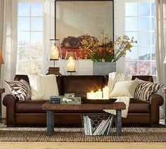 ... Dark Brown Leather Sofa, Brown Leather Sofa Living Room, Grey And Brown Living Room, Burgundy Living Room, Dark Brown Couch, Leather Sofas, Brown Brown, Coastal Living Rooms, Living Room Paint