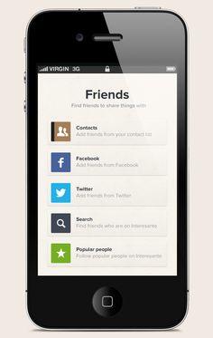 Interesante. iPhone App design by Bek Temirbaev, via Behance