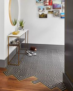we like the way this installation takes advantage of our zenith pattern and transitions into wood. Tile To Wood Transition, Transition Flooring, Küchen Design, Floor Design, House Design, Design Logo, Cement Design, Wood Tile Floors, Plank Flooring