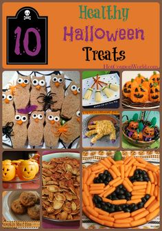 Halloween is fun but the candy & snacks are can be full of sugar & junk. We have compiled a list of 10 healthy Halloween Treats for better snacking! These 10 ideas are perfect for treats for the kids to share at school. Kid tested and mom approved! Scary Halloween Food, Halloween Food Crafts, Halloween Class Party, Halloween Treats For Kids, Fete Halloween, Halloween Goodies, Holidays Halloween, Happy Halloween, Spooky Treats