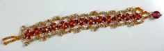 """Golden Tangerine"" needle woven (mostly Right Angle Weave) bracelet. Right Angle Weave, Woven Bracelets, Weaving, Beads, Beautiful, Jewelry, Fashion, Fabric Bracelets, Beading"
