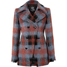 McQ Alexander McQueen Wool Blend Plaid Pea Coat (16,840 MXN) ❤ liked on Polyvore featuring outerwear, coats, jackets, coats & jackets, multicolor, pea coat, tartan coats, plaid peacoat, wool blend double breasted coat and double breasted pea coat
