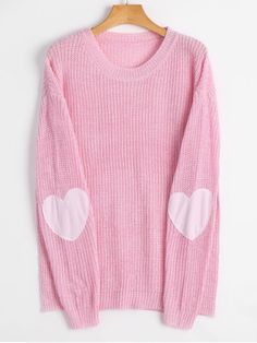 Shop for Heart Elbow Patch Pullover Sweater LIGHT PINK: Sweaters S at ZAFUL. Only $18.99 and free shipping!
