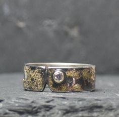 Silberring mit Gelbgold Rings For Men, Wedding Rings, Engagement Rings, Jewelry, Men Rings, Silver Jewellery, Gemstones, Handmade Jewelry, Enagement Rings