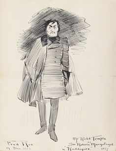 """Richard Temple as Sir Roderic in the original DOC production of """"Ruddigore"""" at the Savoy Theater in 1887; pen and ink drawing by Fred Roe; signed and dated 1908 (""""1908"""" date possibly added at a different time than the signature?). From the National Portrait Gallery; estate of painter Fred Roe."""