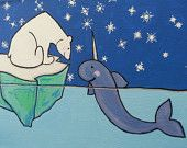 """8""""x10"""" Original acrylic painting on canvas. Whimsical polar bear and narwhal for nursery, child's room, or the kid in you"""