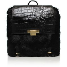 Fur Charlie Backpack Kurt Geiger London Black (1,045 BAM) ❤ liked on Polyvore featuring bags, backpacks, black, crocodile backpack, kurt geiger, fur bag, knapsack bags and top handle bag
