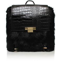 Fur Charlie Backpack Kurt Geiger London Black (€560) ❤ liked on Polyvore featuring bags, backpacks, black, kurt geiger, black crocodile bag, crocodile backpack, crocodile bag and black rucksack