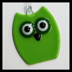 Glassworks Northwest - Lime Owl - Fused Glass Ornament