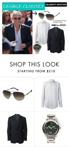 """""""Happy birthday George Clooney! You're only getting better with age!"""" by smartbuyglasses ❤ liked on Polyvore featuring Ermenegildo Zegna, Canali and Nixon"""