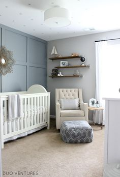 Modern Hamptons Nautical Inspired Nursery - so chic!