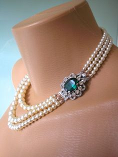 Emerald Necklace Statement Necklace Emerald by CrystalPearlJewelry