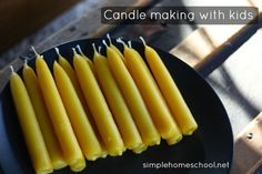 A beginner's overview on candle making with kids - including instructions for creating beeswax tapers