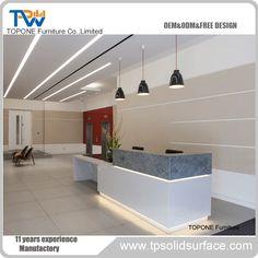 Straight led light office reception front table desk manufacturer.