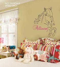 Western Pretty Horse Vinyl Decal Match Your Little Cowgirl Bedding | eBay
