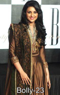 Bollywood actress Parineeti Chopra in beautiful pink and grey designer embellished full sleeves long kameez.