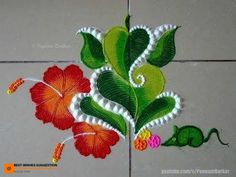 Flower Drawing Leaf Ganesha rangoli with hibiscus flowers Easy Rangoli Designs Videos, Rangoli Designs Simple Diwali, Simple Flower Rangoli, Indian Rangoli Designs, Rangoli Designs Latest, Rangoli Designs Flower, Free Hand Rangoli Design, Rangoli Border Designs, Small Rangoli Design