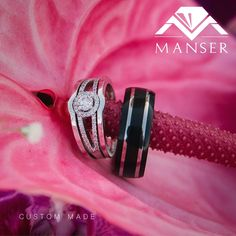 Ladies white gold and diamond engagement ring with fitted wedding bands. Gents ring is a black titanium and teflon ring. His And Her Engagement Rings, Diamond Engagement Rings, Matching Wedding Bands, Wedding Band Sets, His And Hers Rings, Gents Ring, Ring Bearer Outfit, Black Wedding Rings, Ladies White