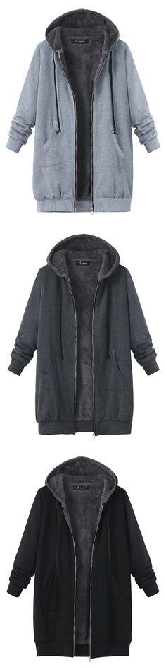 O-NEWE Women Hooded Zipper Long Sleeve Velvet Thicken Long Coat