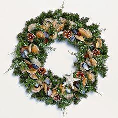 "Juniper Bay Wreath 24"" - Juniper, Mussel Shells & Pinecones"