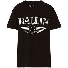 Brian Lichtenberg Ballin cotton-jersey T-shirt ($27) ❤ liked on Polyvore featuring tops, t-shirts, black, black shirt, pattern shirts, black t shirt, pattern t shirt and print tees