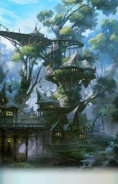 New wood illustration forests fantasy 56 Ideas Fantasy Kunst, Fantasy City, Fantasy Places, Fantasy World, Fantasy Village, Fantasy House, Fantasy Trees, Dark Fantasy, Fantasy Artwork