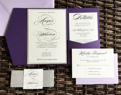 Purple And Silver Glitter Wedding Invitation, Plum Pocket Wedding Invitation,  Purple Invitation, Glitter Invitation