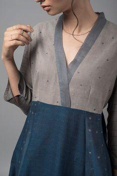 monokurosureto-chanderi-kurta - All About Salwar Designs, Simple Kurti Designs, Tunic Designs, Kurta Designs Women, Kurti Designs Party Wear, Sleeves Designs For Dresses, Dress Neck Designs, Stylish Dress Designs, Indian Fashion Dresses