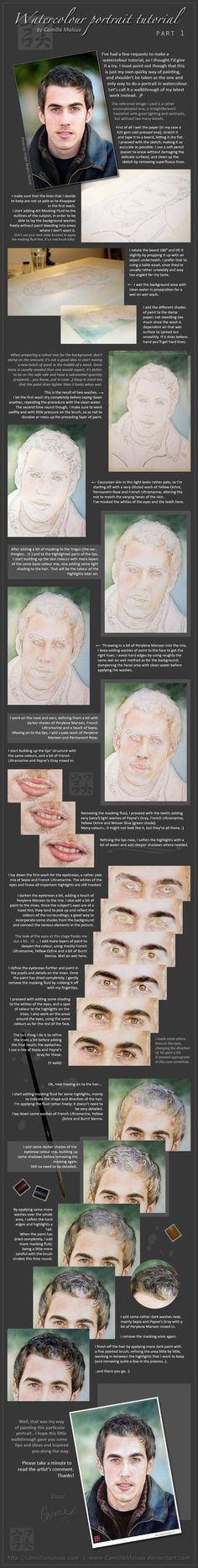 Watercolour Portrait Tutorial by *CamillaMalcus on deviantART