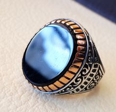 Oval sterling silver 925 k onyx agate natural by AbuMariamJewels